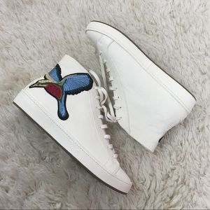 Joie leather mid top sneaker embroidered bird